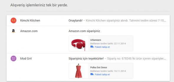 google inbox alışveriş