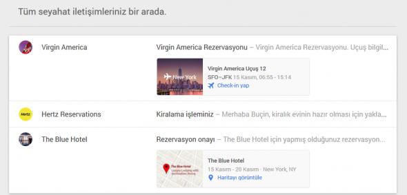 google inbox seyahat